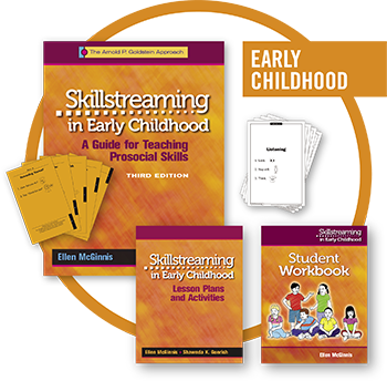 """Five products from the Skillstreaming in Early Childhood product line, grouped over a circle, with the words """"Early Childhood"""" set in the upper right hand corner."""